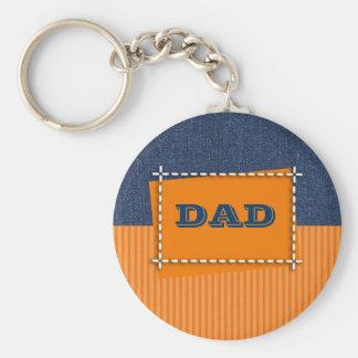 Der Vatertags-Geschenk Keychains Denim-Entwurfs- Standard Runder Schlüsselanhänger