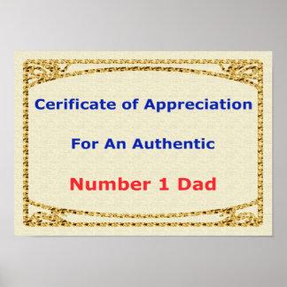 Der Vatertags-Geschenkgutschein der Anerkennung Poster