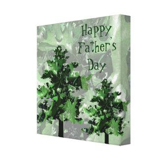 Der Vatertags-Grün-Baum-Silhouette Leinwand Druck