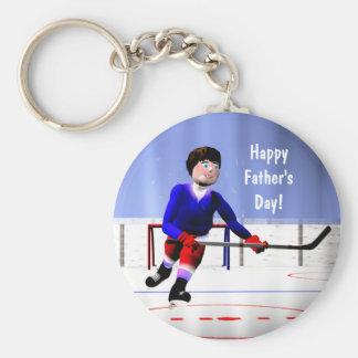 Der Vatertags-Hockey über die Zeit hinaus Standard Runder Schlüsselanhänger