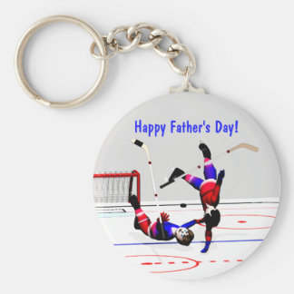 Der Vatertags-Hockeyspiel Standard Runder Schlüsselanhänger