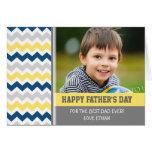 Der Vatertags-Karte blaues gelbes Foto-glückliche