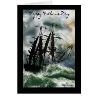Der Vatertags-Karte mit Schiff auf dem Ozean