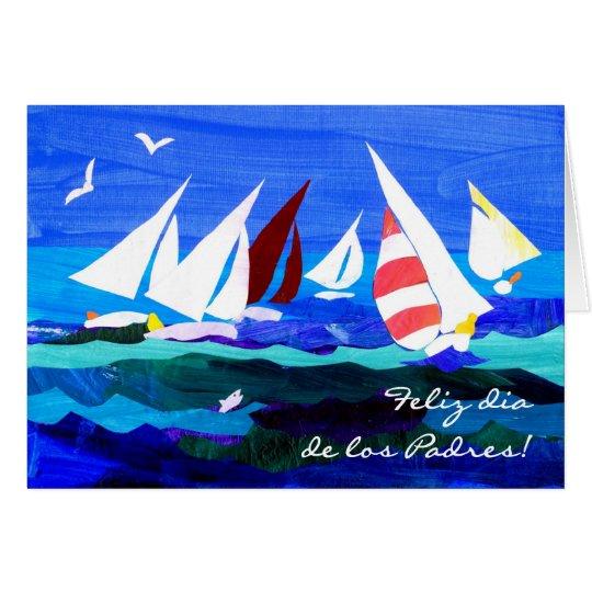 Der Vatertags-Karte Segelboot-- spanischer Gruß Karte