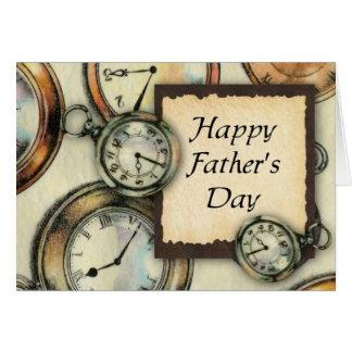 Der Vatertags-Karte Taschen-Uhr-(Großdruck) Karte
