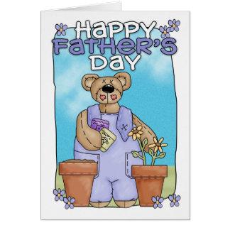 Der Vatertags-Karte - Teddybär-Gartenarbeit