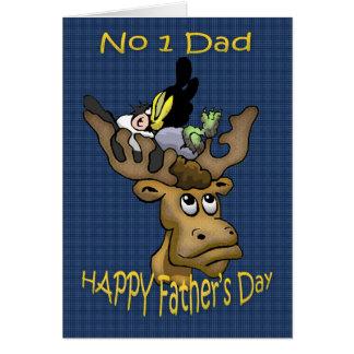 Der Vatertags-Karten-Vati, mit Rotwild und Krähe Grußkarte