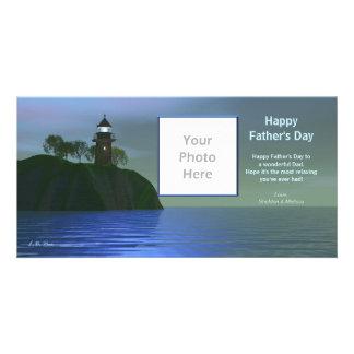 Der Vatertags-Leuchtturm - Blau Fotokartenvorlage