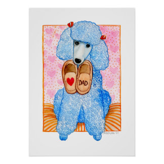 Der Vatertags-Liebe-Vati-Pudel-Verwöhnen Poster