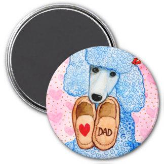 Der Vatertags-Liebe-Vati-Pudel-Verwöhnen Runder Magnet 7,6 Cm