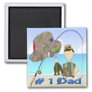 Der Vatertags-Magnet Fischen- Quadratischer Magnet