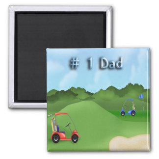 Der Vatertags-Magnet Golf spielendes Quadratischer Magnet