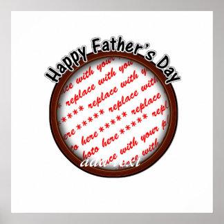 Der Vatertags-runder Brown-Foto-Rahmen Poster