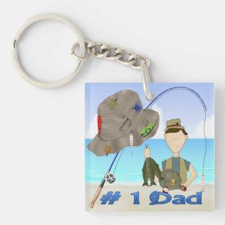 Der Vatertags-Schlüsselkette Fischen- Beidseitiger Quadratischer Acryl Schlüsselanhänger