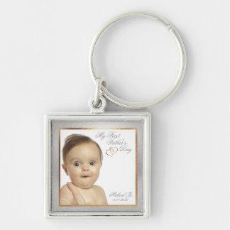 Der Vatertags-Schlüsselkette kundengerechtes Silberfarbener Quadratischer Schlüsselanhänger