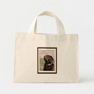 Der Vatertags-schokoladenbrauner Labrador-Hund Mini Stoffbeutel