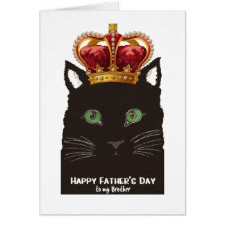 Der Vatertags-schwarze Katze mit Krone für Bruder Grußkarte