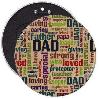 Der Vatertags-Typografie Vati-Wort-Wolken-Text- Runder Button 15,3 Cm