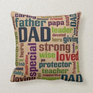 Der Vatertags-Typografie Vati-Wort-Wolken-Text- Kissen