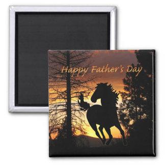 Der Vatertags-wildes Pferdesonnenuntergang-Magnet Kühlschrankmagnet