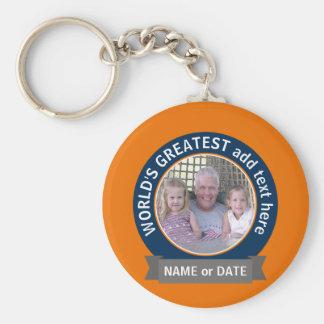 Der Vati-Großvater-Fotos der Welt orange Blau des Schlüsselanhänger