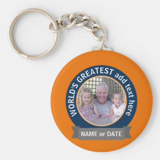 Der Vati-Großvater-Fotos der Welt orange Blau des Standard Runder Schlüsselanhänger