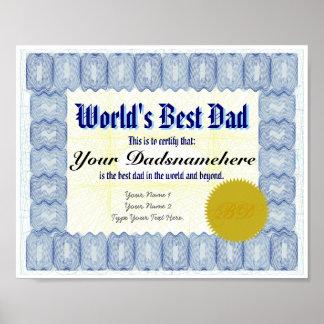 Der Vati-Zertifikat-Plakat der Welt bestes