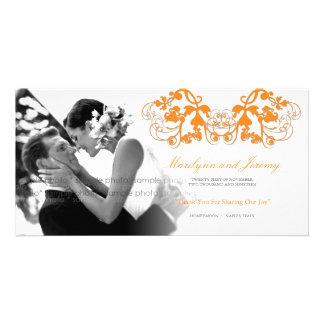 Der Vintage Blumen Chic blühen Hochzeit danken Individuelle Fotokarte