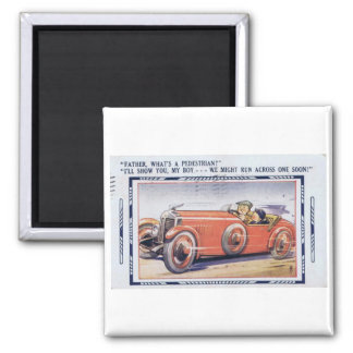 Der Vintage Ed des Fahrers des lustigen Vatis Quadratischer Magnet