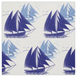 Der Vintage Raum des blauen Bootsjungen nautisch Stoff