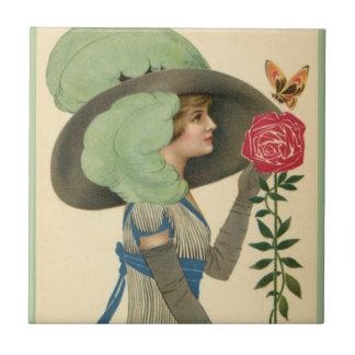 Der Vintage Tag des Valentines, Schmetterling Kleine Quadratische Fliese