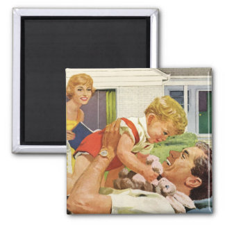 Der Vintage Vatertag, glücklicher Vati und Quadratischer Magnet