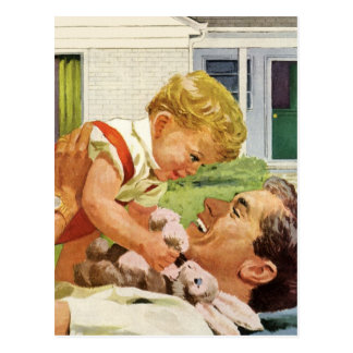 Der Vintage Vatertag, glücklicher Vati und Postkarte