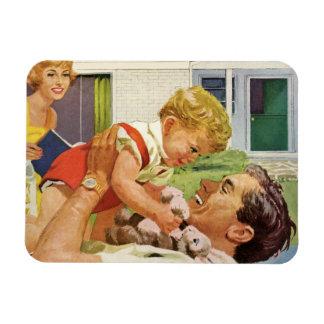 Der Vintage Vatertag, glücklicher Vati und Rechteckige Magnete