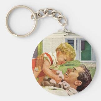 Der Vintage Vatertag, glücklicher Vati und Standard Runder Schlüsselanhänger