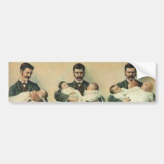 Der Vintage Vatertag, Mann, der Dreiergruppe-Babys Autoaufkleber