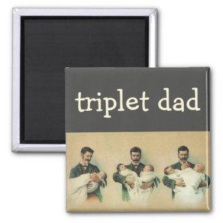 Der Vintage Vatertag, Mann, der Dreiergruppe-Babys Quadratischer Magnet