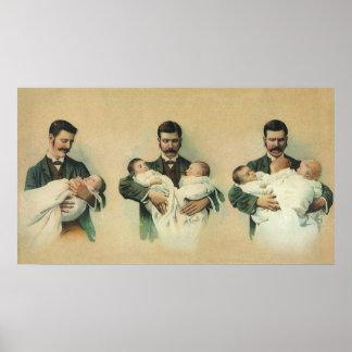 Der Vintage Vatertag, Mann, der Dreiergruppe-Babys Poster