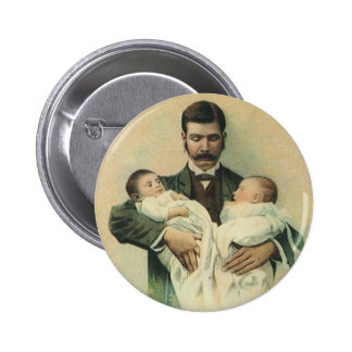 Der Vintage Vatertag, Mann, der Dreiergruppe-Babys Runder Button 5,7 Cm