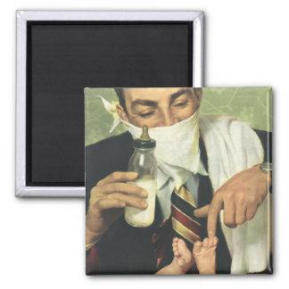 Der Vintage Vatertag mit Vati-ändernden Windeln! Quadratischer Magnet