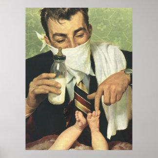 Der Vintage Vatertag mit Vati-ändernden Windeln! Poster