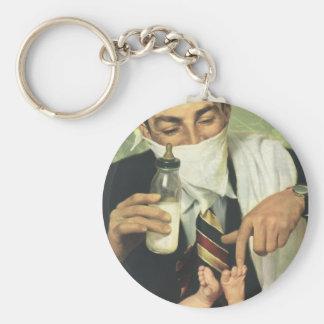 Der Vintage Vatertag mit Vati-ändernden Windeln! Standard Runder Schlüsselanhänger