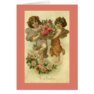 Der Vintage viktorianische Tag des Valentines, Karte
