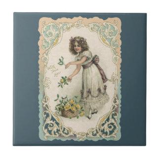 Der Vintage viktorianische Tag des Valentines, Kleine Quadratische Fliese