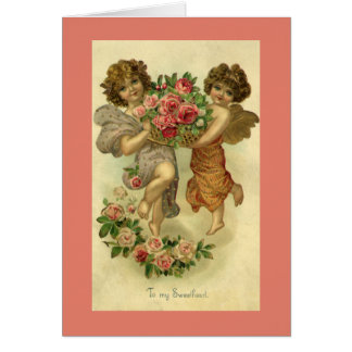 Der Vintage viktorianische Tag des Valentines, Mitteilungskarte
