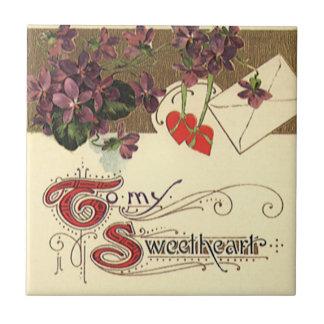 Der Vintage viktorianische Tag des Valentines zu Kleine Quadratische Fliese