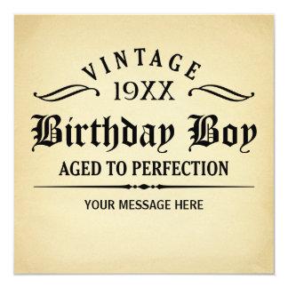 Der Vintage Whisky, der zum Perfektions-Geburtstag Quadratische 13,3 Cm Einladungskarte