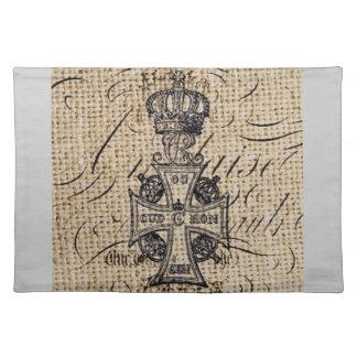 Der Vintagen religiöses Kreuz Kronen-Leinwand des Tischset
