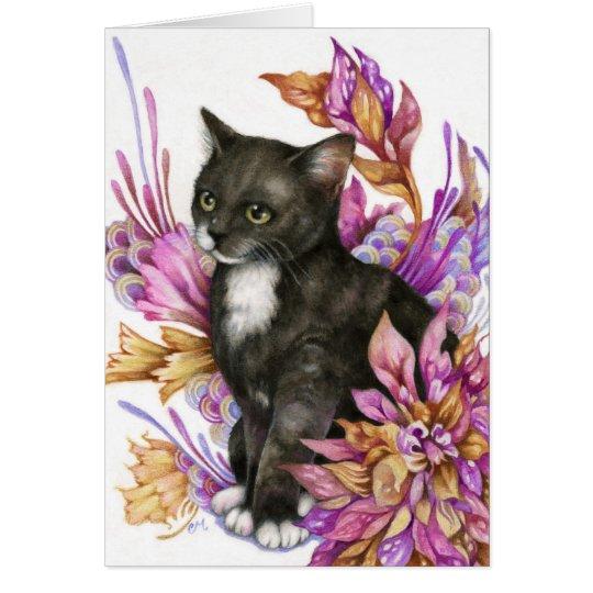 Der Wanderer - niedliche Tuxedo-Katzen-Kunst-Karte Grußkarte