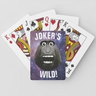 Der wilde grinsende Affe des Jokers Spielkarten